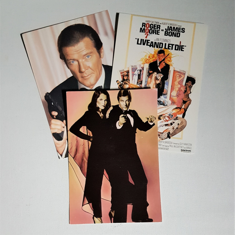 james bond 3x ansichtkaart ongelopen postcard 1985