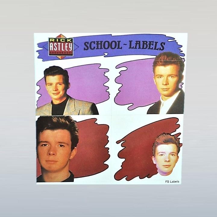 astley, rick  stickers school labels 1980s GRATIS VERZENDEN