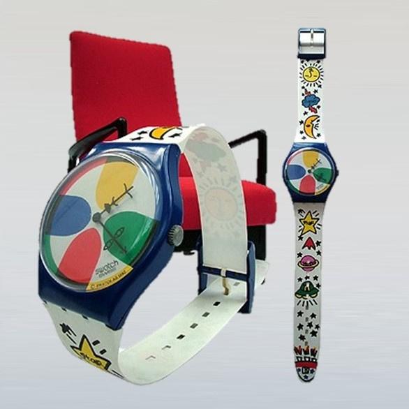 wandklok maxi swatch horloge XXL space people jean-charles de castelbajac 1993
