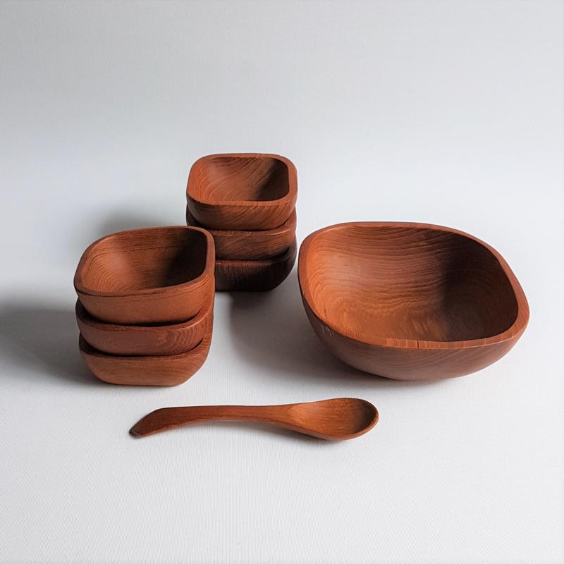 hout snackbakjes snack bowls teak wood 1960s