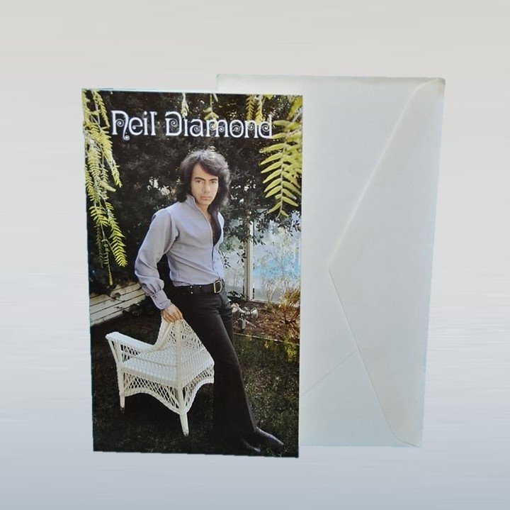 diamond, neil kaart met enveloppe postcard 1970s / 1980s GRATIS VERZENDEN
