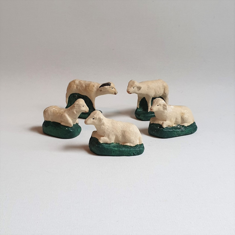 kerst schaapjes 5x cheep figurines 1950s / 1960s