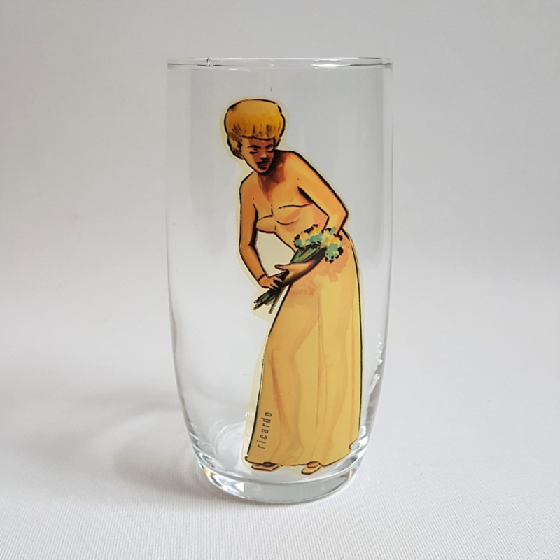 glas pin-up drinking glass ricardo 1960s