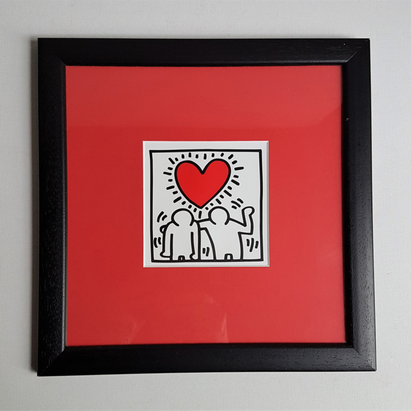 haring, keith print in lijst figures with heart 1988