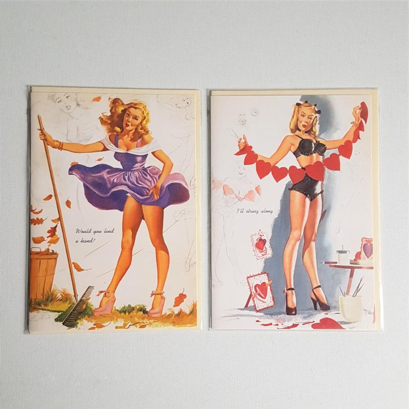 ansichtkaart 2x ongelopen folding postcard pin-up freeman elliot