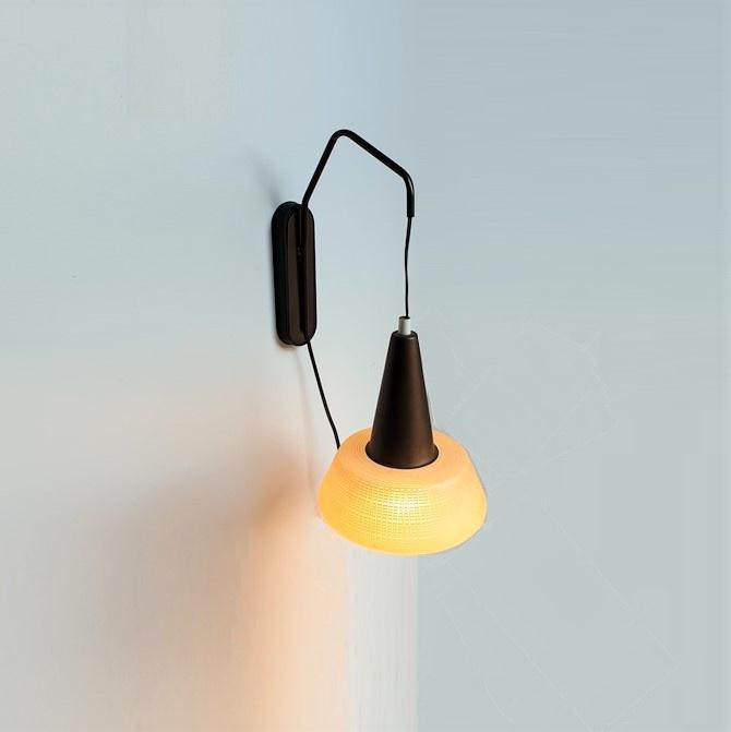 wandlamp glas messing wall lamp glass brass 1960s