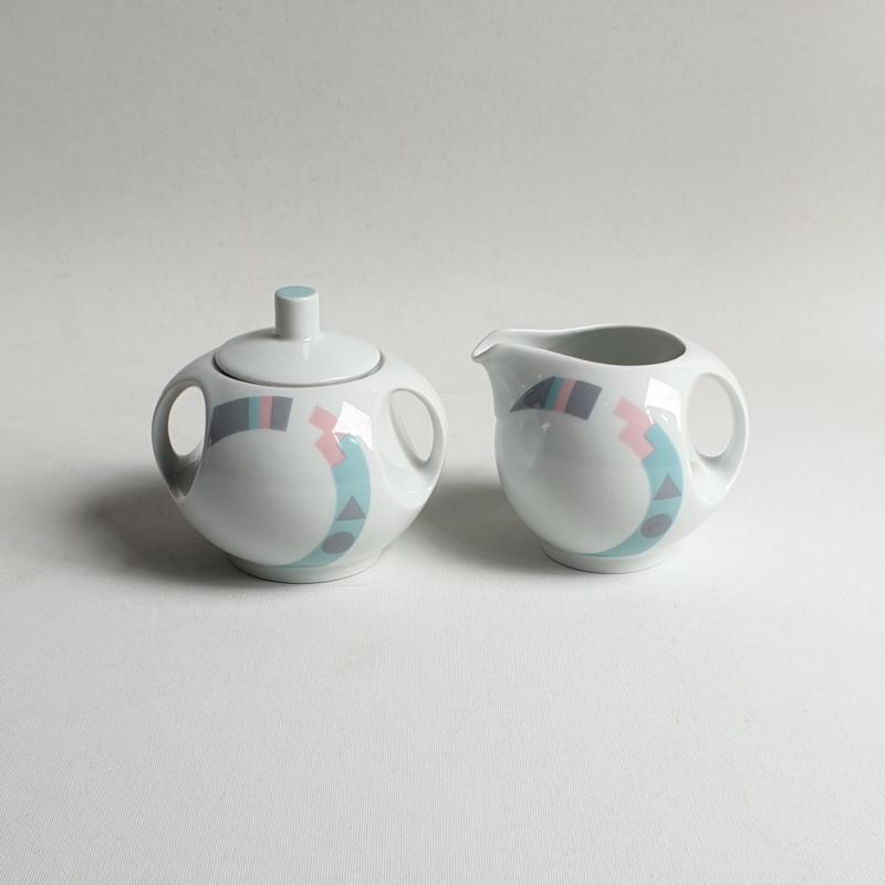 suikerpot + melkkan sugarbowl and saucer mitterteich bavaria memphis 1980s