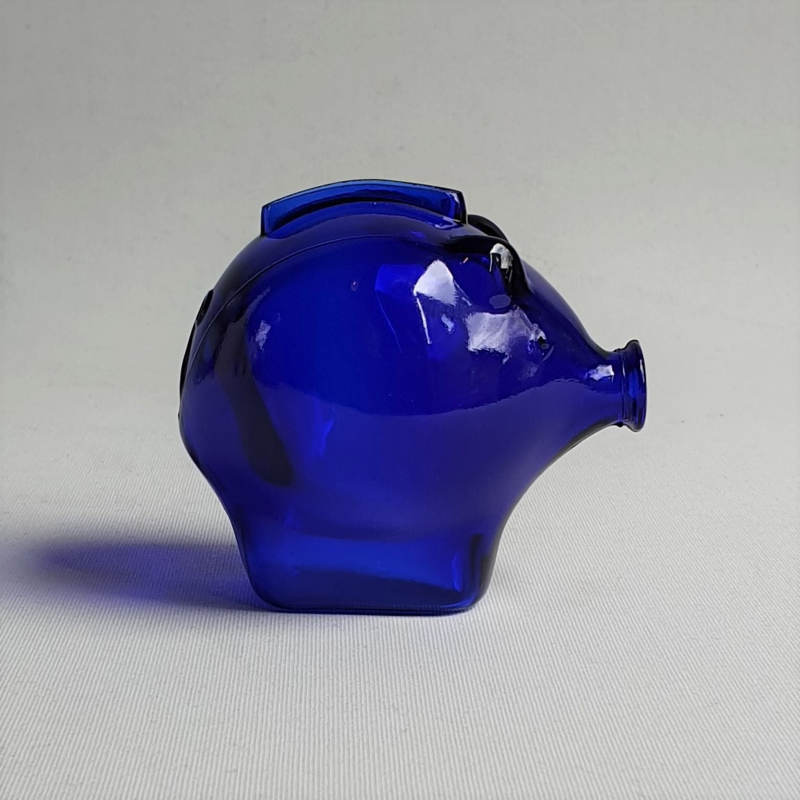 spaarpot glas varken kobalt blauw pig cobalt blue money box glass 1980s