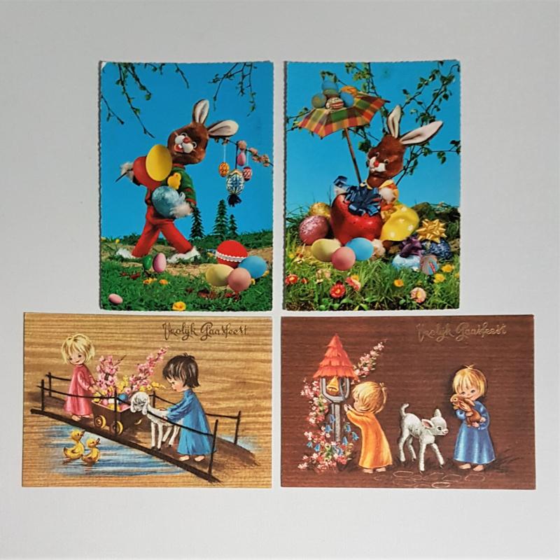 pasen ansichtkaart 4x easter postcard 1970s