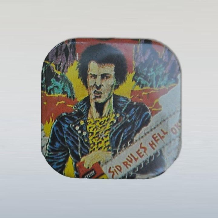 vicious, sid punk button pin 1970s / 1980s GRATIS VERZENDEN