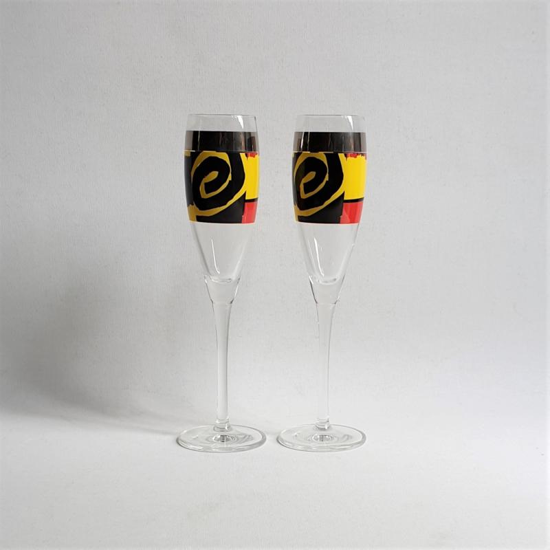 champagne glazen 2x pair of flutes memphis style roger selden ritzenhoff