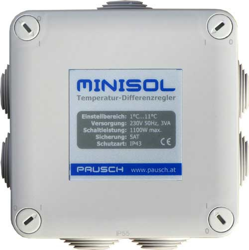 Minisol regelaar voor zwembadverwarming Minisol Pausch met daksensor en badvoeler