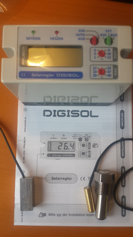 Digisol solar temperatuur regelaar incl. dak voeler en bad voeler  Pausch Digisol