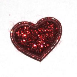 mini glitter hartje rood (17mm)