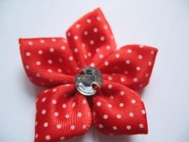 Rood polkadot bloem met rhinestone