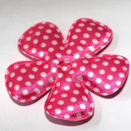 47mm polkadot bloem satijn felroze