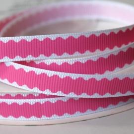 10mm wit met roze grosgrain band