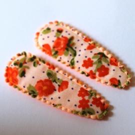 kniphoesje oranje gebloemd (5cm)