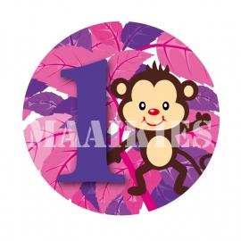 Verjaardags button AAP ROZE 1-6 jaar