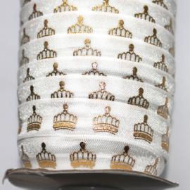 Haarband elastiek wit gouden kroontjes