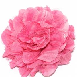 Mooie bloem roze met tulle 10cm