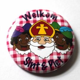Sinterklaas button Roze ruit