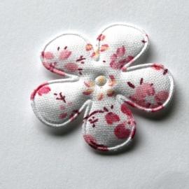 Wit met roze gebloemde bloem