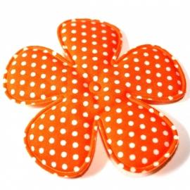 75mm Polkadot bloem oranje stof