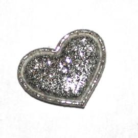 mini glitter hartje zilver (17mm)
