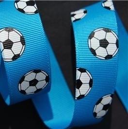 Voetbal lint 22mm aqua blauw p/m
