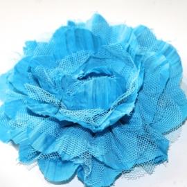 10cm bloem Aqua blauw met kant