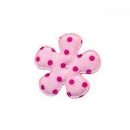 25mm polkadot bloem stof roze/felroze