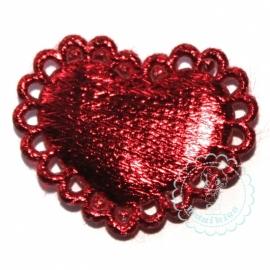 Schulp hartje metallic rood