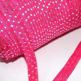 Haarband elastiek Fuchsiaroze met zilver metalic stip