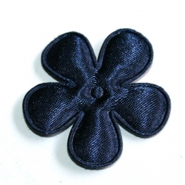 35mm satijn bloem navy