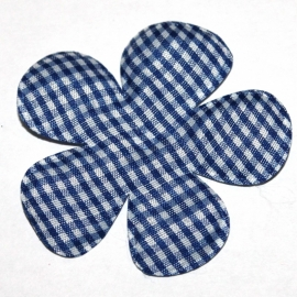 Royal blauw gingham ruit bloem 65mm