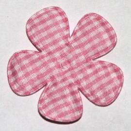 Roze gingham ruit bloem 47mm