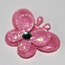 Vlinder dubbellaags klein donker roze p/s