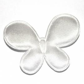 Vlinder satijn wit (4,5 bij 3cm)