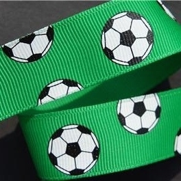 Voetbal lint 22mm groen p/m