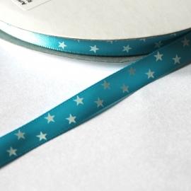 Satijn lint fel blauw met sterren print 10mm breed