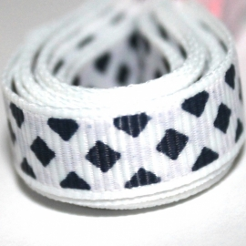 3m Grosgrain lint 10mm navy - wit