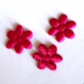 1 mini bloemetjes satijn fuchsia  (10mm)