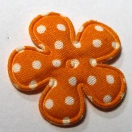 25mm polkadot bloem stof oranje