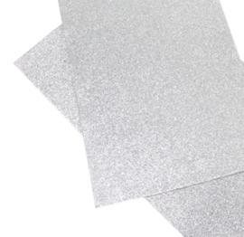 Lapje glitter zilver pu leer (a4)