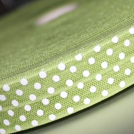 Lime Haarband elastiek / biasband  polkadot 20mm breed
