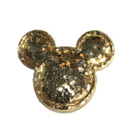Muis hoofdje glitter goud