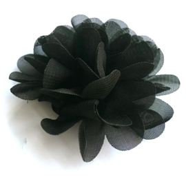 chiffon bloem zwart 6cm