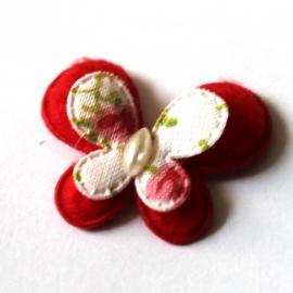 stoffen dubellaagse vlinder rood