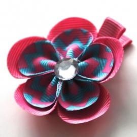 Lokspeldje bloem felroze zigzag felblauw